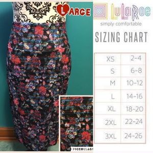 LuLaRoe Large Floral Cassie Pencil Skirt
